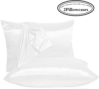 Leccod 2 Pack Shinny Silk Pillowcase with Hidden Zipper, Super Soft and Luxury Satin Pillow Cases Covers for Hair and Skin (White, Standard : 20x26)