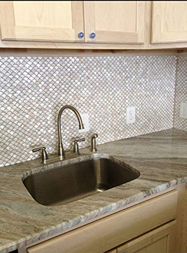 """Genuine White Fish Scale Mother of Pearl Mosaic Tile for Bathroom/Kitchen/Spa/Fireplace/Shower Backsplash Tile (4""""X6"""" Sample Swatch)"""