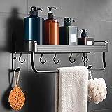 DEHUB Estanteria Baño Sin Taladro, Cesta de Ducha Aluminio Estantes Ducha Con Toallero y Gancho Organizador de Ducha Para Baño y Cocina (Negro , 40cm)