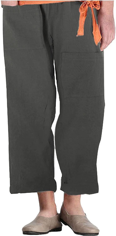 Women Pants for Work Plus Size, Women's Solid Color Unique Pocket Straight Cotton and Linen Casual Trousers