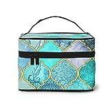 Cool Jade ICY Mint - Bolsa de maquillaje con diseño de azulejos marroquíes, grande, bolsa de maquillaje, organizador de artículos de tocador/bolsa de viaje para mujer