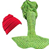 ORIONDUST Mermaid Tail Blanket with Free $15.00 Value Gift- Christmas RED Ponytail Beanie - 77'x37' XL Size for Adults, Teens, Kids, Great Gift idea for Christmas Warm Soft Mermaid Blanket