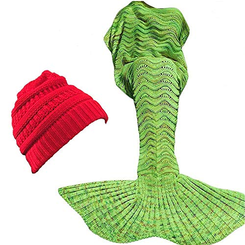 """ORIONDUST Mermaid Tail Blanket with Free $15.00 Value Gift- Christmas RED Ponytail Beanie - 77""""x37"""" XL Size for Adults, Teens, Kids, Great Gift idea for Christmas Warm Soft Mermaid Blanket"""
