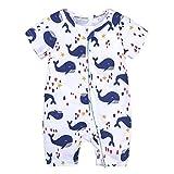 DQCUTE Baby Strampler Jungen Mädchen Schlafanzug Baumwolle Overalls Cartoon Kurzarm Reißverschluss Neugeborene Spielanzug Baby Nachtwäsche Weiß Wal 3-6 Monate