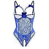 ReooLy Nuevas señoras Encaje Hueco Hueco Sexy Perspectiva Conjunto de Ropa Interior para Damas(L-Azul,M)