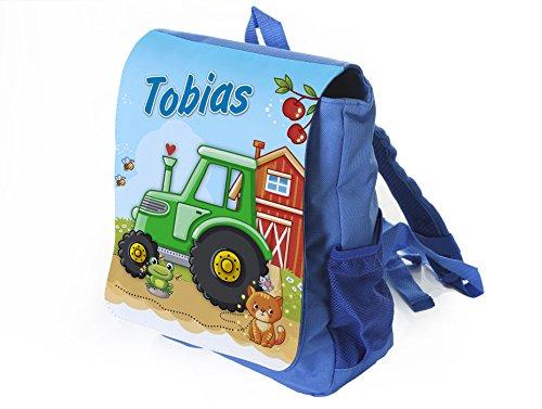 Kleiner Blauer Kinderrucksack Traktor in grün mit Name Bedruckt, Ideal für Kita/Kindergarten, Kindergartenrucksack, Kindergeburtstag, Ostern, Weihnachten