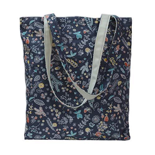 Tobeso Bolsos totes para mujer Bolso de compras reutilizable Bolsos de algodón Bolsas de supermercado ecológicas para mujeres (Azul profundo-flor)