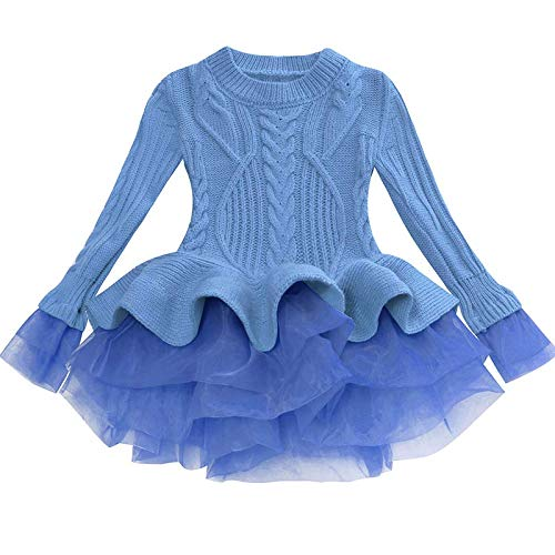 OwlFay Vestido de Suéter de Punto para Niñas Costura con Volantes Tutu...