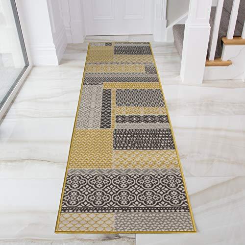 The Rug House Tapis de Salon tradtionnel Milan Triangles Motif arlequin Ocre Jaune Gris Beige 60cm x 240cm