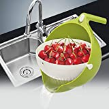 ZAK168 - Cesta de Vaciado Desmontable de Doble Capa de bascula, 360 Grados, Cesta de Lavado de Verduras de Frutas de colador, Verde, Talla Abierta