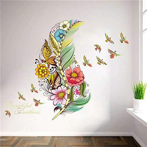 muxiao Wandtattoo, Wandaufkleber Blume 3D Schmetterling, Federpflanzen, Wohnzimmer, Kindergarderobe, Küche, Kleiderschrank, Halle, Fenster, Dekoration Typ C.