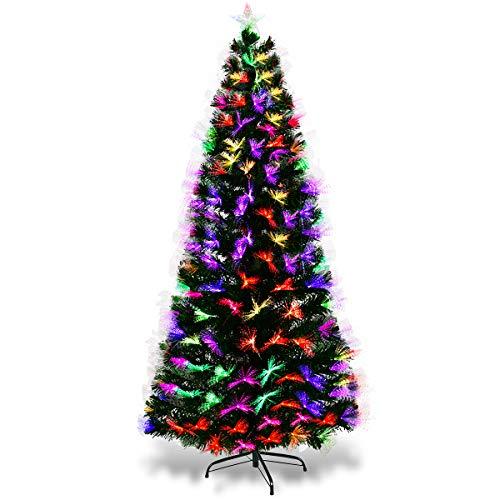 COSTWAY Albero di Natale a LED Albero di Abete Artificiale confibra di Vetro, Verde, 150 / 210cm (180cm)