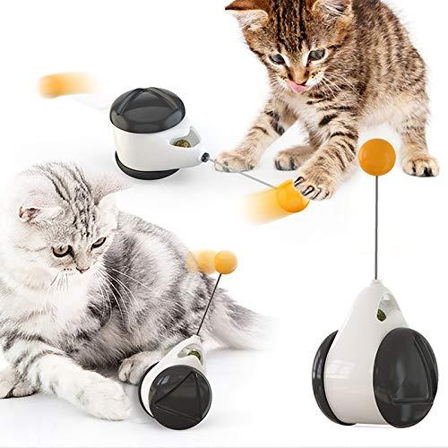 DERCA Katzenspielzeug, Interaktives Spielzeug für Katzen, Katzen Tumbler Ball Hundespielzeug Federspielzeug mit 360° Raumdrehendem Katzenstäbchen, Interaktives Ball für IQ Trainings, ohne Batterien