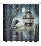 A.Monamour Fliegende Fledermäuse Spuk Schloss Friedhof Schwarz Krähe Gothic Halloween Thema Bad Dekoration Duschvorhänge Textil 180X200 cm / 72