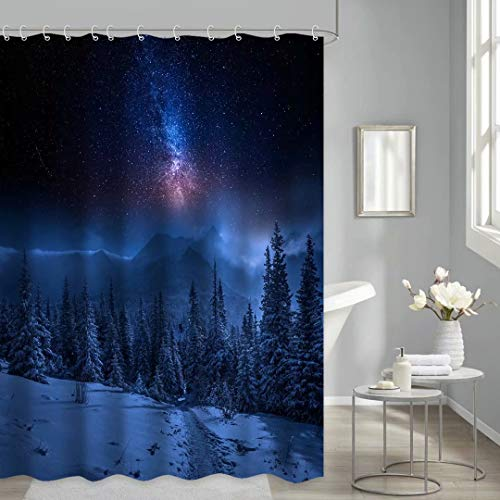 Thinyfull Winter Snow Forest Shower Curtains, Bathroom Decor Beautiful Starry Night for Bathroom Curtain Set with Hooks, 72x72 Inches
