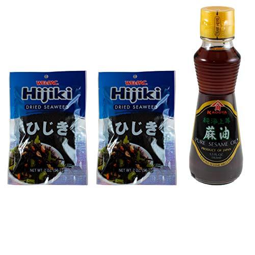 Hijiki and Sesame Oil Set - Pack of 2 Welpac Dried Hijiki Seaweed 2 OZ. + Kadoya Pure Sesame Oil 5.5 FL.OZ.