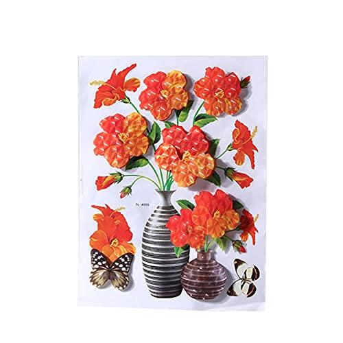 Pegatinas de pared 3D autoadhesivas decorativas de flores y floreros, decoración de pared para dormitorio, fiesta, boda, decoración