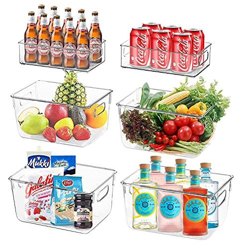 Cozywind Set Da 6 Contenitori Da Frigo Per Alimenti , Contenitore Per Alimenti Trasparente Scatola Portaoggetti Da Cucina Adatto Per La Conservazione Di Frutta Verdura Bevande E Carne