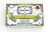 SANTO AMARO European Wild Sardines in Pure Olive Oil (12 Pack, 120g Each) Lightly Smoked - Europe...