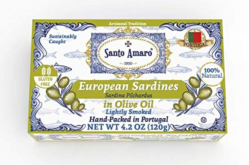 SANTO AMARO European Wild Sardines in Pure Olive Oil (12 Pack, 120g Each) Lightly Smoked - Europe Style! 100% Natural - Wild Caught – GMO FREE - Keto - Paleo - Hand Packed in PORTUGAL