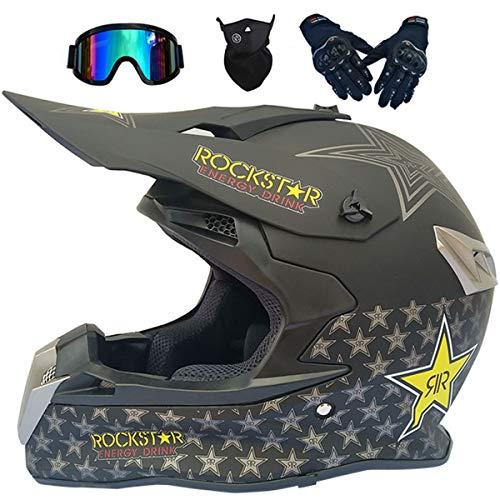LCRAKON Casco Motocross Niño, Dot Homologado MJH-02 Negro/Rockstar Casco de Moto para Infantil y Adulto, Cascos de Cross de Moto de Integrales Enduro Set (4 Piezas) con Gafas Downhill/Guantes/Máscara