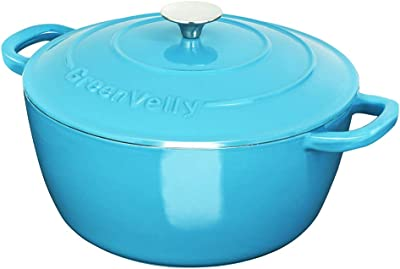 Greenvelly 6 Quart Enameled Cast Iron Dutch Oven Natural Non-Stick Slow Cook with Lid, Stew-pans-Blue