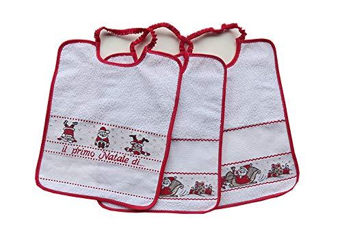 Bavaglie Bavaglini natalizi natalizie 'Il primo Natale di' con tela aida 3 pezzi da ricamare