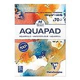 Clairefontaine 975720C Bloc Encollé Goldline Aquapad - 70 Feuilles Papier Aquarelle Blanc Grain Moyen Fin A5 14,8x21 cm 300g