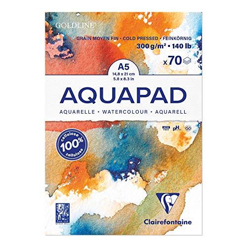 Clairefontaine 975720C Goldline Aqua - Bloc de papel de dibujo medio fino, 70 hojas, 14,8x21 cm, 300 g