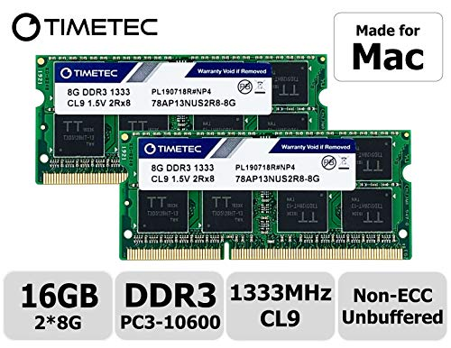 Timetec Hynix IC Apple DDR3 1333MHz PC3-10600 SODIMM Memory Upgrade voor MacBook Pro 13/15/17 inch Early/Late 2011, iMac 21,5 inch Mid/Late 2010/2011, Mid 2010/2011, Mac mini 5,1 & 5,2 Mid 2011 16GB Kit (2x8GB)