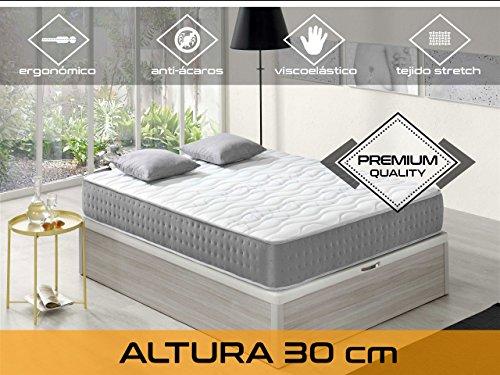 Relaxing-Confort Elixir 305.0Matratze Visco elastisch, algodón-poliuretano, weiß und blau, Doppelbett, 190x 140x 30cm