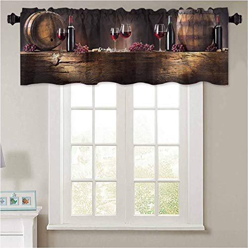 """Kitchen Curtain Valance Winery Decor Red Wine Barrels Bottles Glasses Grapes on a Anti 1 Panel 36"""" x 18"""" Thermal Insulated Blackout Valance Curtain"""
