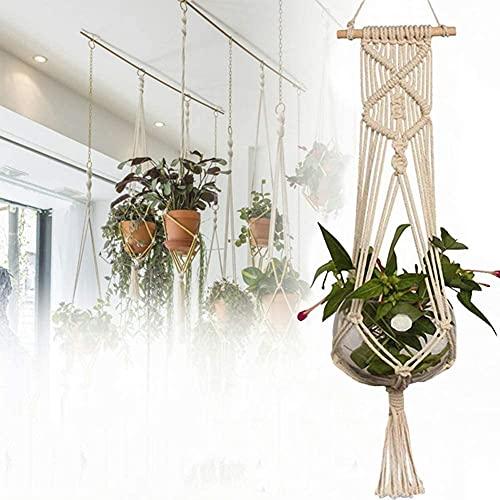 QINGJIANG Maceta de red para colgar macetas con soporte para colgar en la cesta de la cabestra, tejido a mano, decoración de jardín y balcón