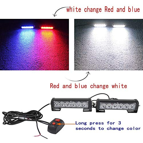 2PC 12V24V6Led Variable Colors Emergency Strobe Police Light Bar Warning Deck Dash Grille Light for Motorcycle Utility Vehicle Car Trucks Jeep Offroad SUV UTV ATV