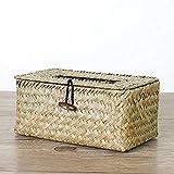 Funda para caja de pañuelos de ratán, para servilletas de escritorio, hecha a mano, no tóxica, respetuosa con el medio ambiente Tamaño libre...