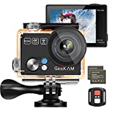 GeeKam <span class='highlight'>Action</span> Camera 4K/30fps 12MP WiFi <span class='highlight'>Under</span>water Waterproof Camera 170°Wide Angle with Remote Control 2pcs1050mAh Batteries with Helmet Accessories Kits