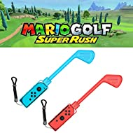Pack of 2 golf clubs specially designed for Mario Golf: Super Rush - Nintendo Switch, 2021 Controller silicone case and caps. Ergonomic design and complete protection with soft material. Made of durable ABS plastic, lightweight, comfortable to hold a...