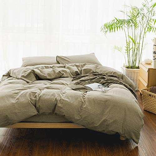 EMME Queen Duvet Cover 3-Piece Set Washed Cotton Premium Bedding Collection Comforter Cover with 2 Pillow Shams Solid Color Hypoallergenic Wrinkle and Fade Resistant (Khaki, Full/Queen)