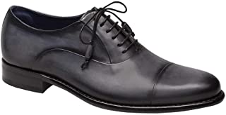 Helios Mens Luxury Cap Toe Oxford Lace Ups - Exquisite Hand-Burnished Calfskin with Hand-Stained Full Leather Sole - Handcrafted in Spain - Medium Width