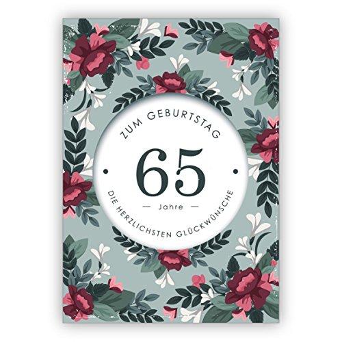 Klassiek elegante verjaardagskaart met decoratieve bloemen voor de 65e verjaardag: 65 jaar voor de verjaardag de meest hartelijke felicitaties • ook directe verzending met tekst inlegger • felicitatiekaart