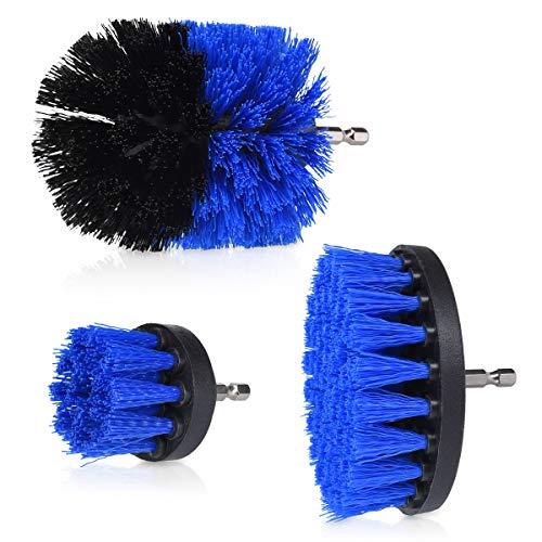Navaris Set de cepillos de Limpieza para Taladro - Kit 3X Cepillo para taladradora para Limpiar baño Cocina Azulejos Fregadero Ducha - Dureza Media