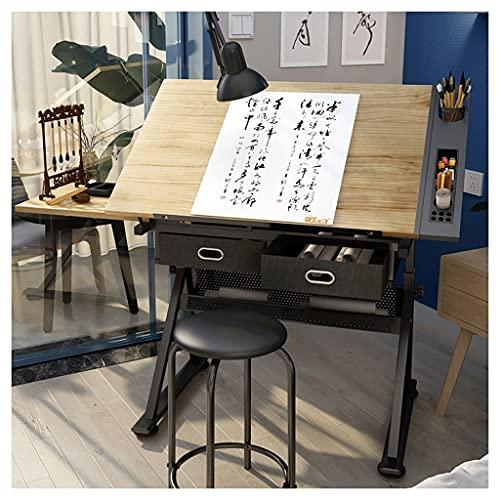 Wyhgry Mesa de Dibujo con Cajon de Almacenamiento,Mesa de Pintura Multifuncional,para Arquitectos y Técnicos Bandeja de Inclinación Ajustable en Altura para el Hogar y Oficina