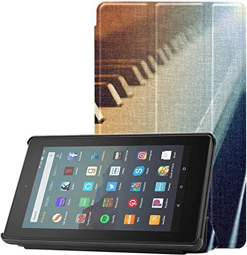 Cubierta Funda para Tableta Kindle Fire 7 Piano y teclados de Piano Funda para Tableta Kindle Fire 7 9a generación para Tableta Fire 7 (novena generación, versión 2019) Ligero con Reposo/activación