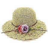 HFGR,Sombrero de Playa,Flores Hechas a Mano Sombrero de Paja de Ganchillo Sombrero para el Sol de ala Ancha Sombrero para el Sol de Vacaciones para Mujer Sombrero de Playa para Mujer Sombrer