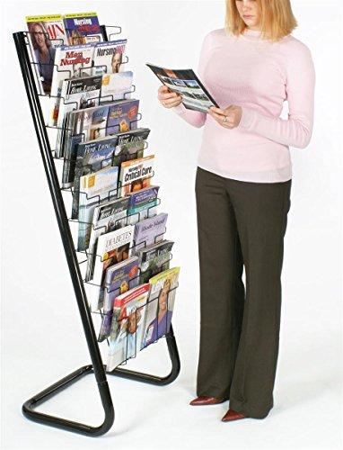 """57"""" Floor-Standing Wire Magazine Rack, 20 Pockets, Tiered Design - Black"""