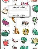 Kompositionsheft - 8,5 x 11 Zoll - 110 Seiten: Gemüsemusterthema für Veganer oder Vegetarier
