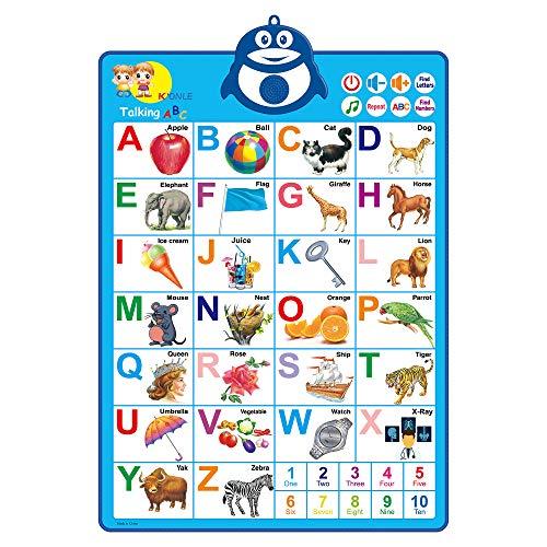 Richgv Tabla de Alfabeto Interactivo Electrónico,Póster de Alfabeto con Altavoz,Voz en Inglés,Aprendiendo ABC,123,Juguetes Educativos Abecedario para Niños Pequeños de 1 a 3 años