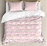 <span class='highlight'><span class='highlight'>JamirtyRoy1</span></span> Swans Duvet Cover Set Double Size, Gracious Floral Aquatic Bird with Crown Royalty Animal, Decorative 3 Piece Bedding Set with 2 Pillow Shams, Rose Pastel Pink Olive Green Fern Green