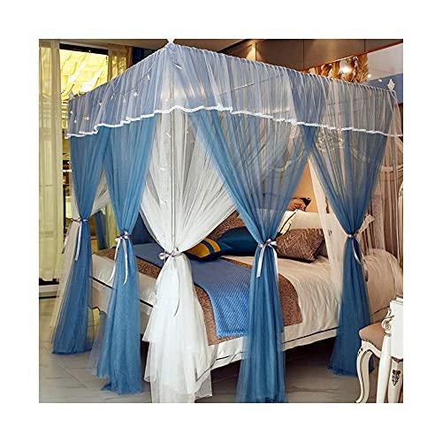 Equipo de campamento Cama Mosquitero Malla de doble capa de pie con 4 postes de esquina Toldo de cama Fibra de poliéster Material antidesgarro Juego de soportes Adecuado para cama dentro de 2.2MD (