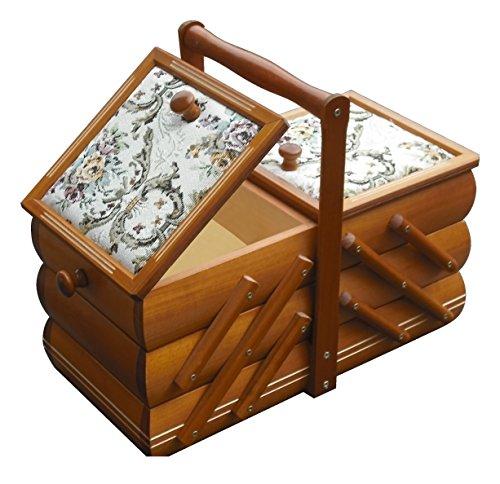 Rodnik Nähkästchen- Landhaus- Nähkorb- Nähkasten- Holz- mit Nadelkissen- Schmuckkästchen- ausziehbare Holzschatulle mit Gobelin